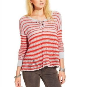 Free People Knit Striped Grey and Orange Sweater